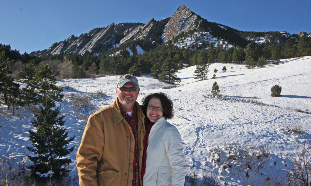 Rich & Tracy in front of the Flatirons.